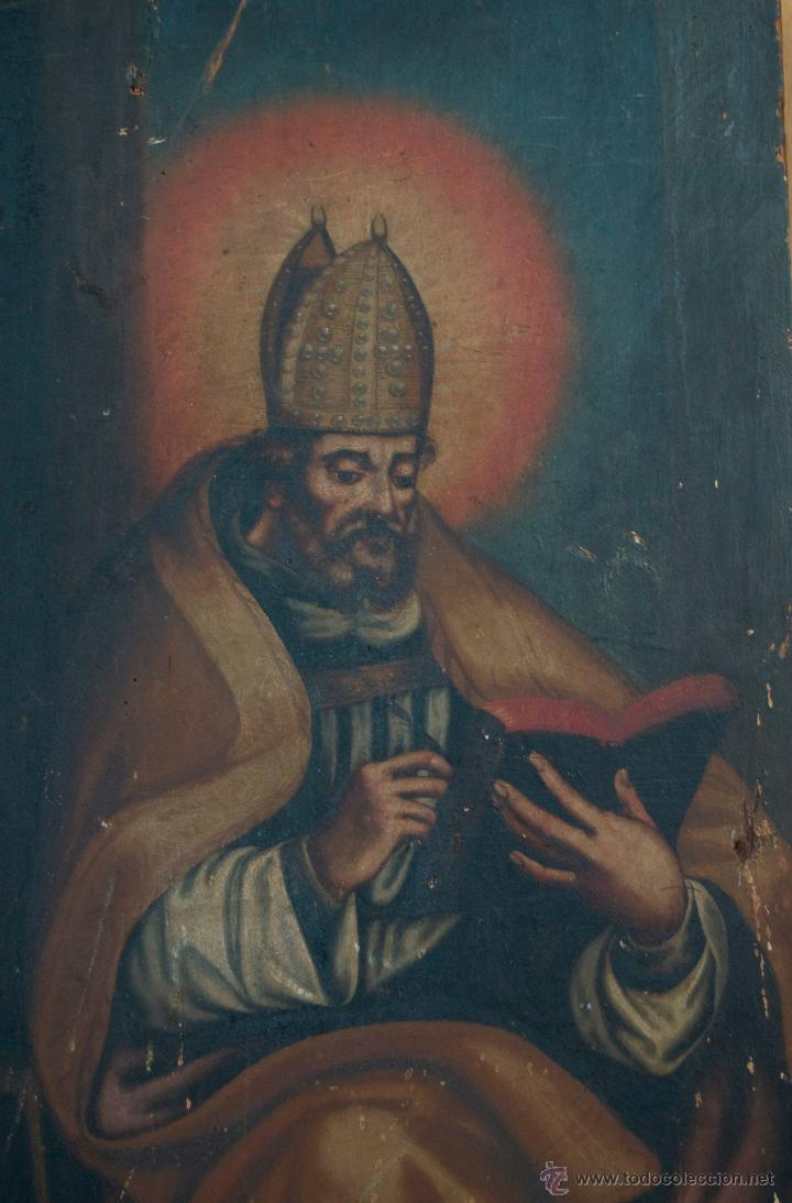 Arte: cuadro pintura antigua religiosa padre de la iglesia siglo XVIII - Foto 5 - 50595616