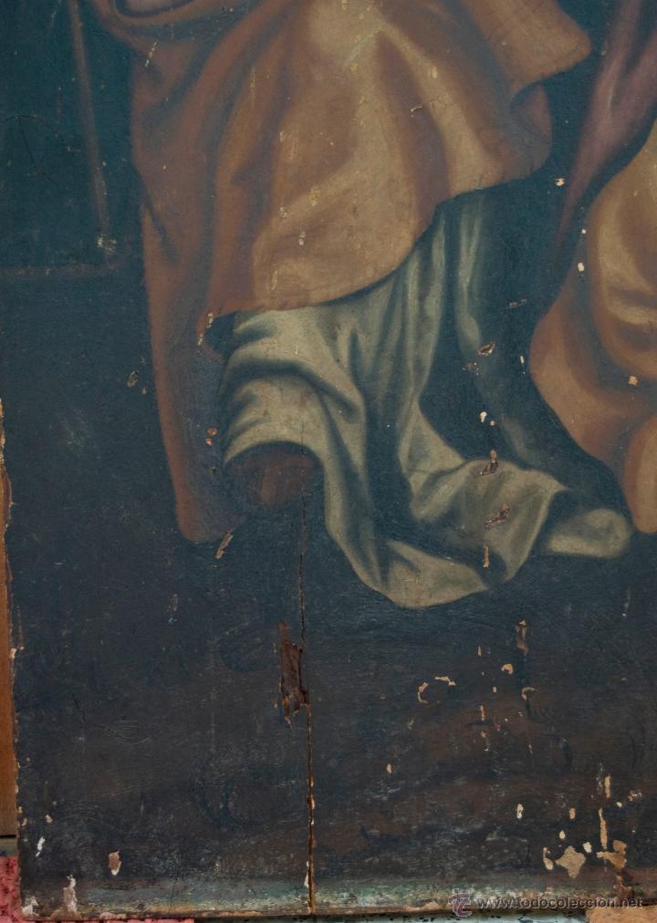 Arte: cuadro pintura antigua religiosa padre de la iglesia siglo XVIII - Foto 8 - 50595616