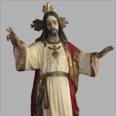 Arte: SAGRADO CORAZÓN JESÚS 170 CM., EN MARMOLINA MACIZA , POLICROMADO Y PAN ORO , PARA RESTAURAR ,. Lote 50681376
