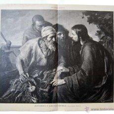 Arte: LITOGRAFIA DE LA ILUSTRACION ARTISTICA. JESUCRISTO Y LOS PESCADORES. CUADRO DE ERNESTO ZIMMERMANN. Lote 50728580