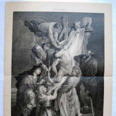 Arte: LITOGRAFIA DE LA ILUSTRACION ARTISTICA. EL DESCENDIMIENTO DE LA CRUZ. CUADRO POR P. P. RUBENS. Lote 50730738
