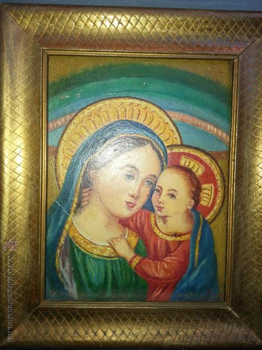 pintura oleo sobre tabla firmado . virgen y niñ - Comprar Pintura ...