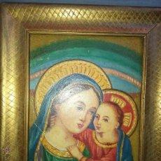 Arte: PINTURA OLEO SOBRE TABLA FIRMADO . VIRGEN Y NIÑO JESUS ESPECTACULAR MARCO MADERA PAN DE ORO . Lote 50764354