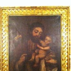 Arte: ÓLEO SOBRE LIENZO SAN JOSÉ Y NIÑO JESÚS - PINTURA RELIGIOSA. Lote 34241012
