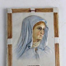 Arte: IMAGEN DE LA VIRGEN DOLOROSA EN CERAMICA PINTADA Y ESMALTADA. SIGLO XIX. MATER DOLOROSA. Lote 50916751