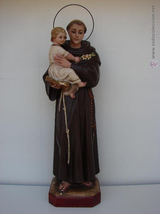 EXTRAORDINARIA ESCULTURA ANTIGUA DE SAN ANTONIO. OLOT (Arte - Arte Religioso - Escultura)