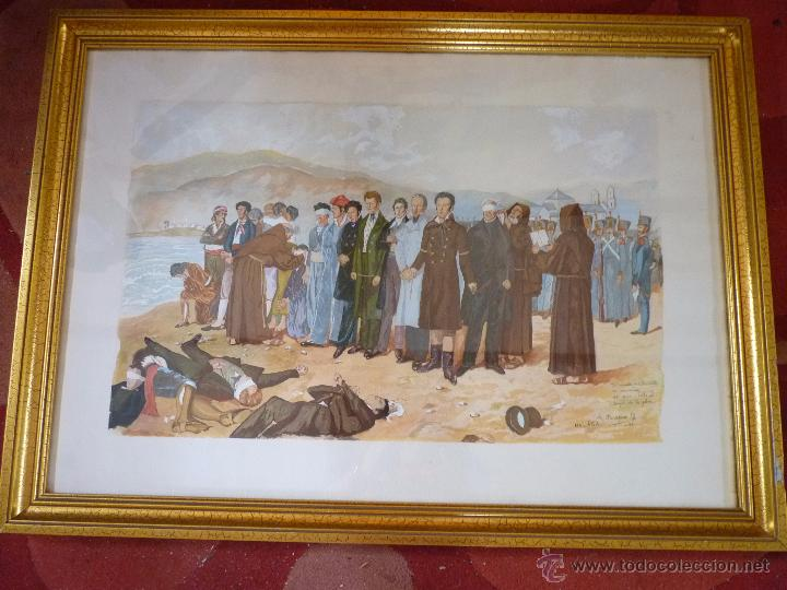 PRECIOSA PINTURA ACUARELA FUSILAMIENTO DE TORRIJOS MALAGA FIRMADA (Arte - Arte Religioso - Pintura Religiosa - Acuarela)
