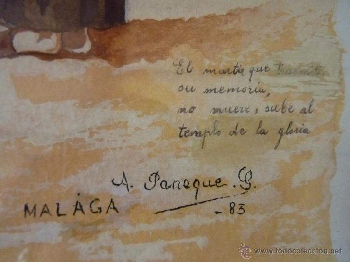 Arte: PRECIOSA PINTURA ACUARELA FUSILAMIENTO DE TORRIJOS MALAGA FIRMADA - Foto 3 - 51012568