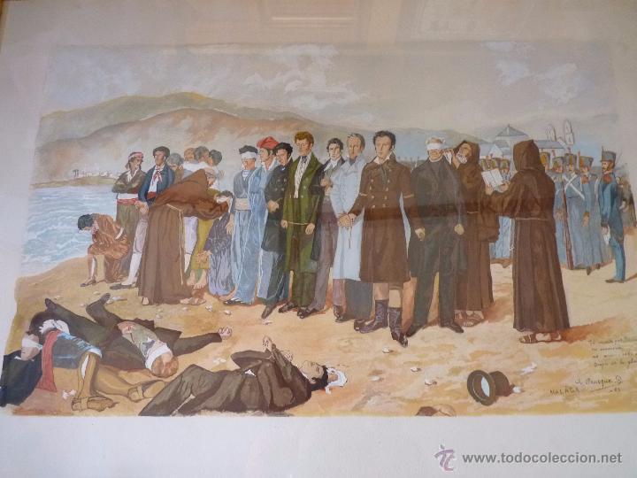 Arte: PRECIOSA PINTURA ACUARELA FUSILAMIENTO DE TORRIJOS MALAGA FIRMADA - Foto 5 - 51012568