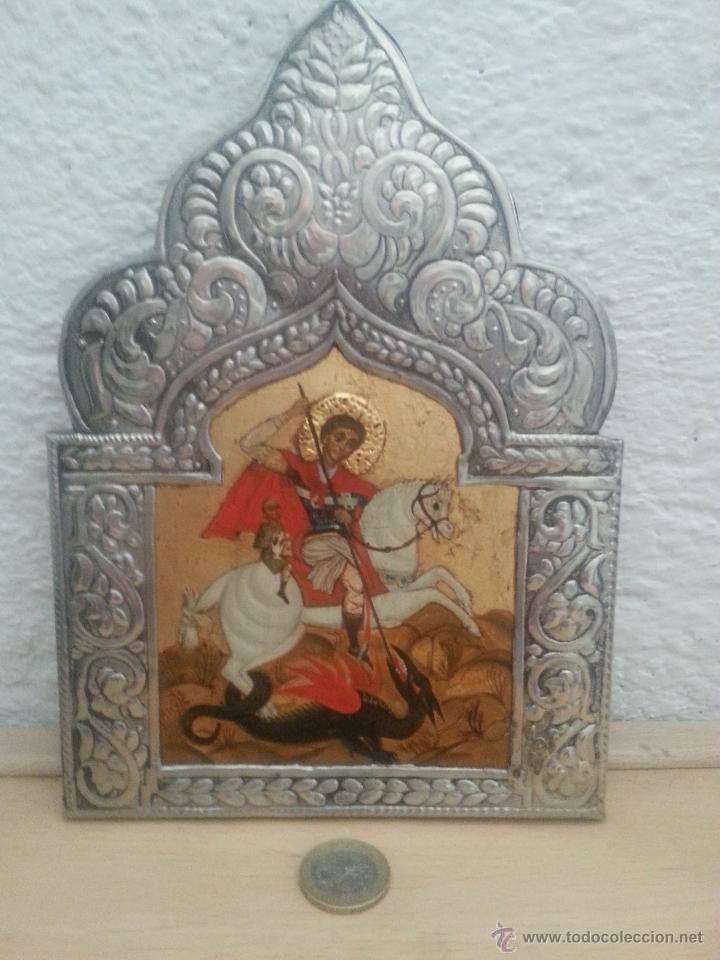 ICONO REPUJADO EN ESTAÑO Y PINTURA ORIGINAL , COPIA DEL ORIGINAL (Arte - Arte Religioso - Iconos)