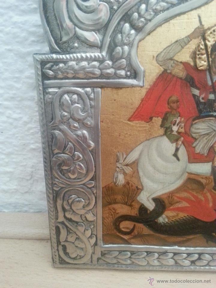 Arte: icono repujado en estaño y pintura original , copia del original - Foto 2 - 51022258