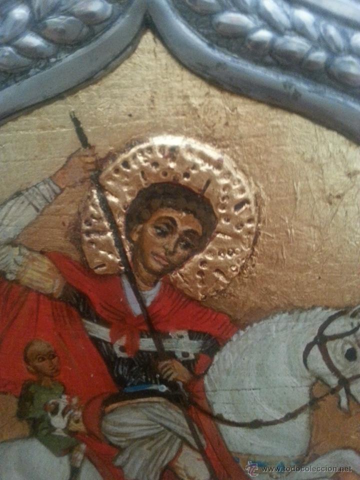 Arte: icono repujado en estaño y pintura original , copia del original - Foto 3 - 51022258