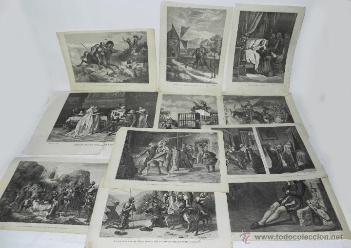 11 GRABADOS DE DON QUIJOTE, 9 SON DEL GRABADOR V. BARNETO, Y 2 DE S. NARVAEZ, UNO DE ELLOS TIENE UNA (Arte - Arte Religioso - Litografías)