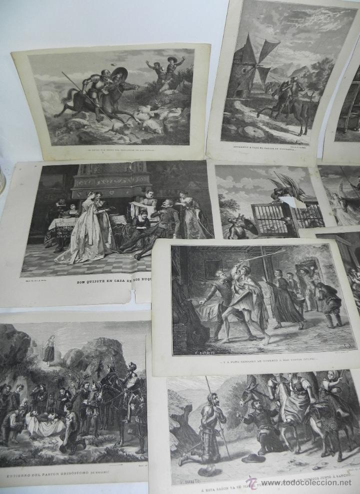 Arte: 11 GRABADOS DE DON QUIJOTE, 9 SON DEL GRABADOR V. BARNETO, Y 2 DE S. NARVAEZ, UNO DE ELLOS TIENE UNA - Foto 2 - 51056087