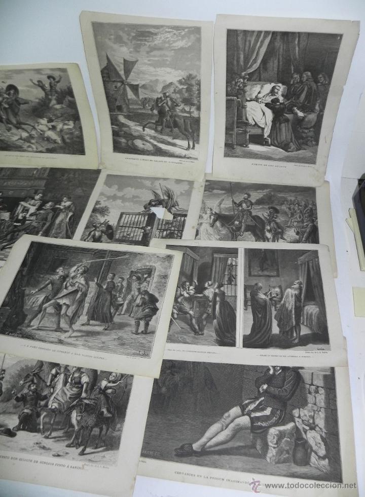 Arte: 11 GRABADOS DE DON QUIJOTE, 9 SON DEL GRABADOR V. BARNETO, Y 2 DE S. NARVAEZ, UNO DE ELLOS TIENE UNA - Foto 3 - 51056087
