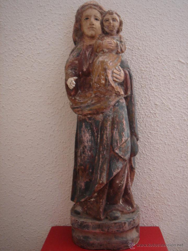 TALLA DE VIRGEN CON NIÑO S. XV -ESC ESPAÑOLA ALTA ÉPOCA, PROBABLE ESC ARAGONESA-. 61 CMS DE ALTURA (Arte - Arte Religioso - Escultura)