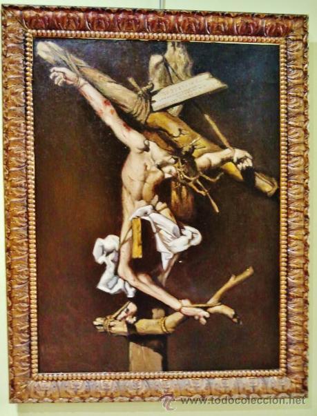 CRISTO EN LA CRUZ. ÓLEO SOBRE LIENZO, S. XIX. INTERESANTE COMPOSICIÓN CON CARTELA EN LATÍN. (Arte - Arte Religioso - Pintura Religiosa - Oleo)