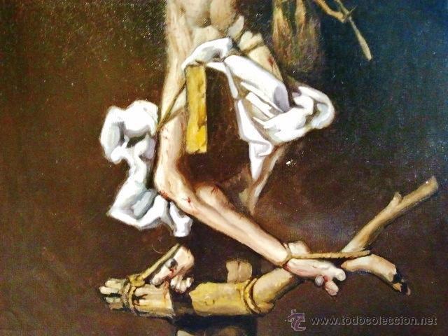 Arte: Cristo en la cruz. Óleo sobre lienzo, s. XIX. Interesante composición con cartela en latín. - Foto 3 - 51149775
