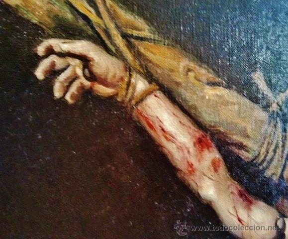 Arte: Cristo en la cruz. Óleo sobre lienzo, s. XIX. Interesante composición con cartela en latín. - Foto 4 - 51149775