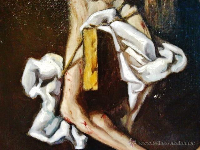 Arte: Cristo en la cruz. Óleo sobre lienzo, s. XIX. Interesante composición con cartela en latín. - Foto 5 - 51149775