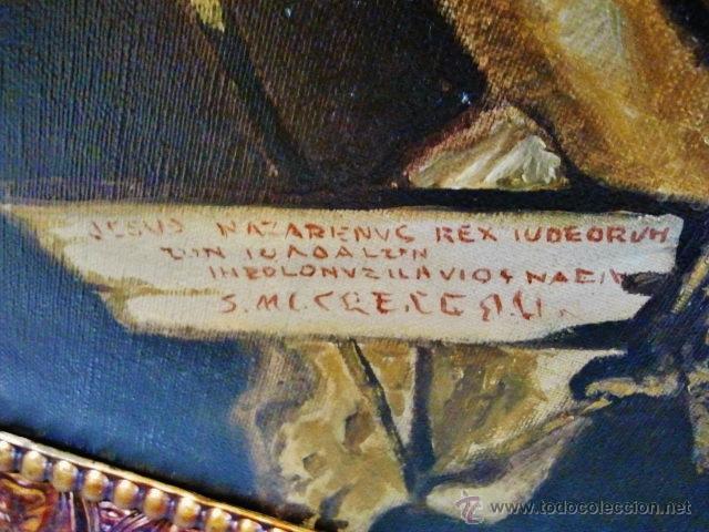 Arte: Cristo en la cruz. Óleo sobre lienzo, s. XIX. Interesante composición con cartela en latín. - Foto 7 - 51149775