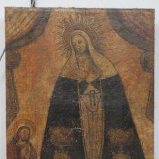 Arte: INTERESANTE Y MUY ANTIGUO OLEO S/ LIENZO. VIRGEN SOLEDAD O DOLOROSA. SIGLO XVII. Lote 51187538