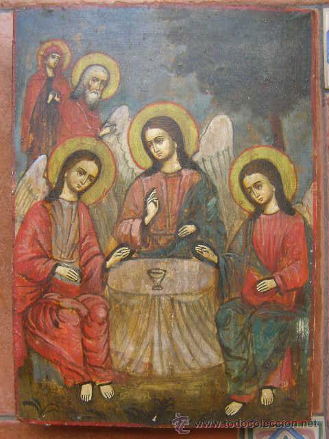 ICONO RUSO. SIGLO XIX. LA TRINIDAD DEL ANTIGUO TESTAMENTO. APARICION DE LOS ANGELES A ABRAHAM (Arte - Arte Religioso - Iconos)