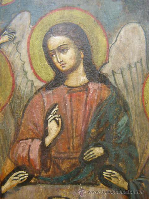 Arte: ICONO RUSO. SIGLO XIX. LA TRINIDAD DEL ANTIGUO TESTAMENTO. APARICION DE LOS ANGELES A ABRAHAM - Foto 2 - 51188672