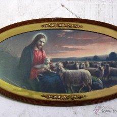 Arte: ANTIGUA Y PRECIOSA LITOGRAFIA DE EL BUEN PASTOR. JESÚS CON LAS OVEJAS.. Lote 51321572