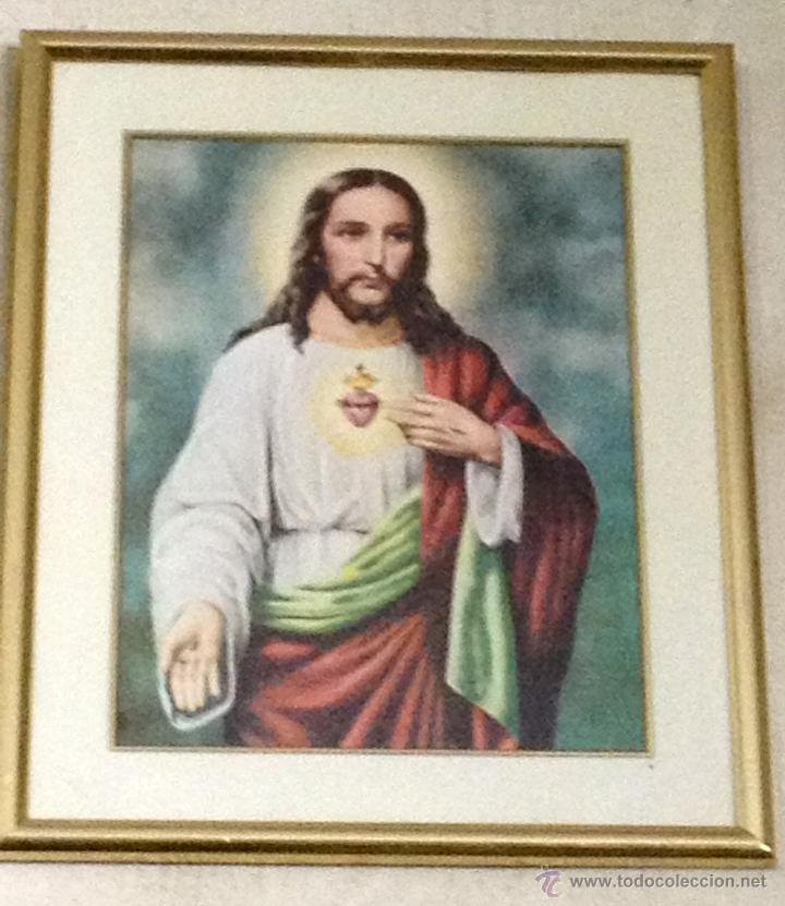 bonita litografia enmarcada del sagrado corazón - Comprar ...