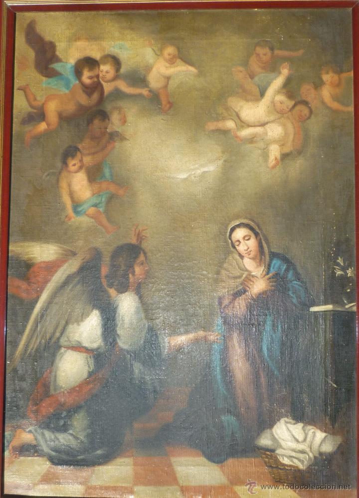 LA ANUNCIACIÓN. OLEO SOBRE LIENZO. 90 X 64 CM. HACIA 1900. (Arte - Arte Religioso - Pintura Religiosa - Oleo)