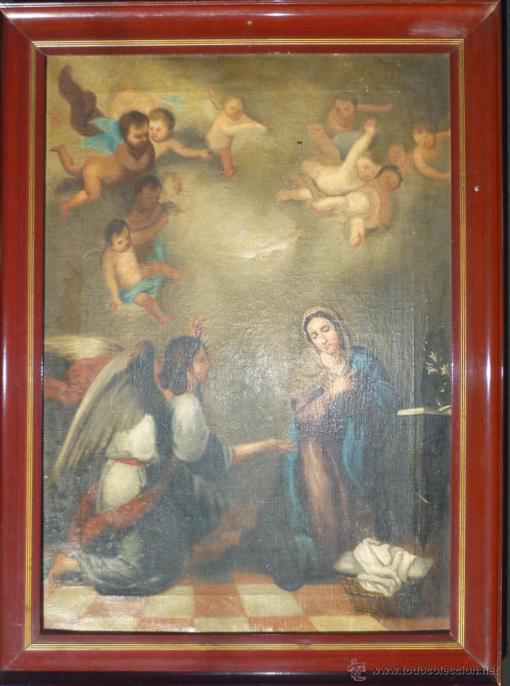 Arte: La anunciación. Oleo sobre lienzo. 90 x 64 cm. Hacia 1900. - Foto 2 - 51430817