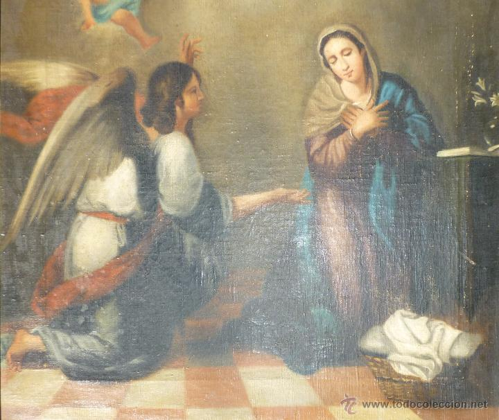 Arte: La anunciación. Oleo sobre lienzo. 90 x 64 cm. Hacia 1900. - Foto 3 - 51430817