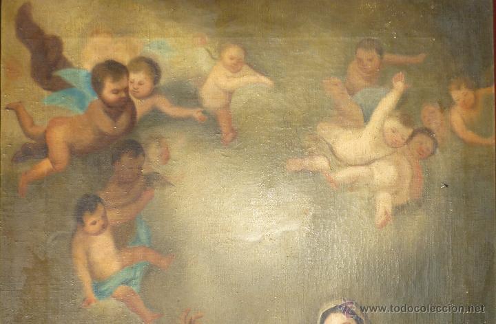 Arte: La anunciación. Oleo sobre lienzo. 90 x 64 cm. Hacia 1900. - Foto 4 - 51430817