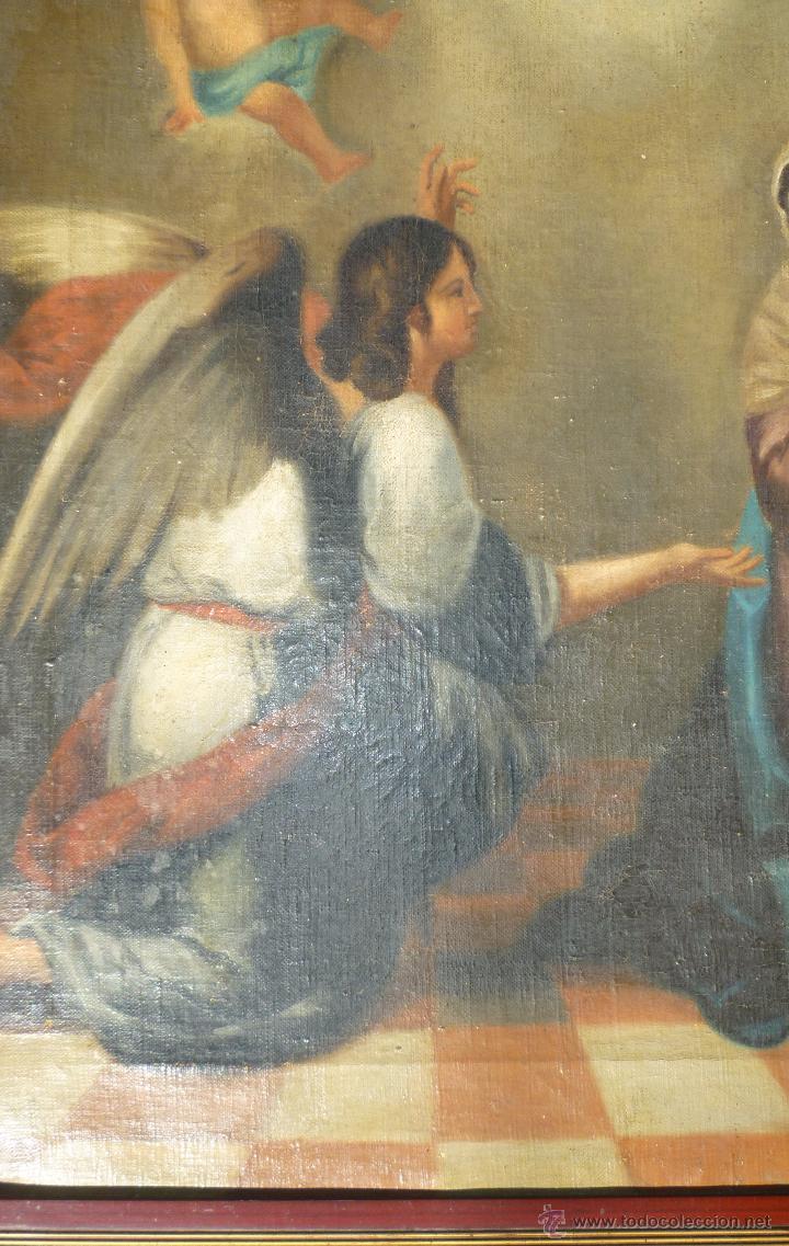 Arte: La anunciación. Oleo sobre lienzo. 90 x 64 cm. Hacia 1900. - Foto 6 - 51430817