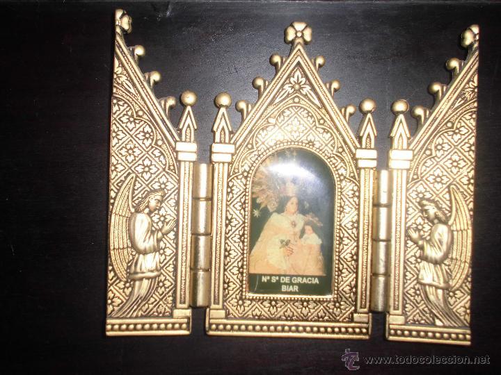 VIRGEN DE BIAR NUESTRA SEÑORA DE BIAR TRIPTICO RETABLO TRIPTICO DE BRONCE CAPIILLA (Arte - Arte Religioso - Trípticos)