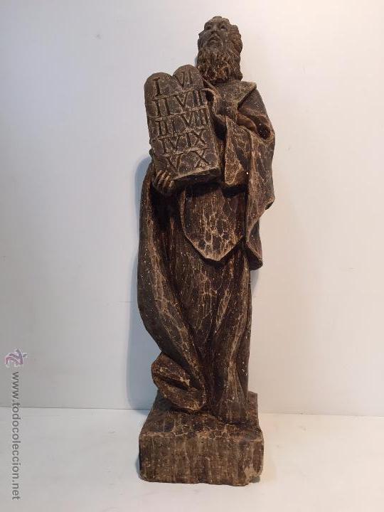IMAGEN DE MOISES ANTIGUA. 39CM (Arte - Arte Religioso - Escultura)