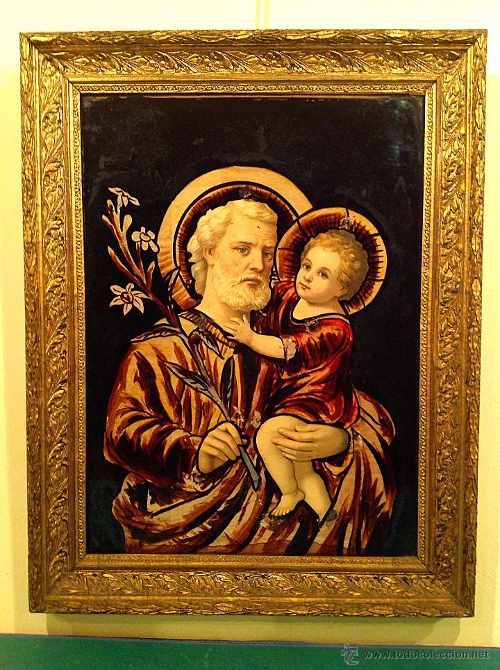 ANTIGUO CUADRO EN CRISTAL /DE SAN JOSÉ CON EL NIÑO JESÚS AÑOS MEDIDAS 65X51CM (Arte - Arte Religioso - Pintura Religiosa - Otros)