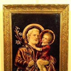 Arte: ANTIGUO CUADRO EN CRISTAL /DE SAN JOSÉ CON EL NIÑO JESÚS AÑOS MEDIDAS 65X51CM. Lote 51546254