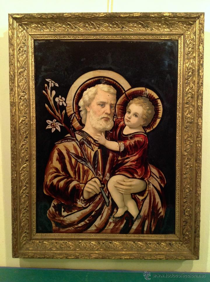 Arte: Antiguo Cuadro En Cristal /De San José Con El Niño Jesús Años Medidas 65X51CM - Foto 2 - 51546254
