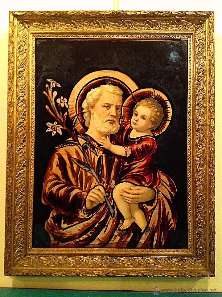 Arte: Antiguo Cuadro En Cristal /De San José Con El Niño Jesús Años Medidas 65X51CM - Foto 3 - 51546254