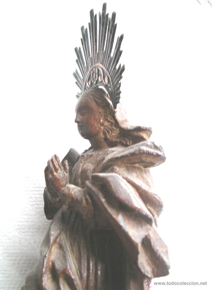 Arte: Virgen de la Purísima S XIX, corona de plata, talla madera de Cedro. Med. Alt. 26 x 8 x 8 cm - Foto 6 - 26831083