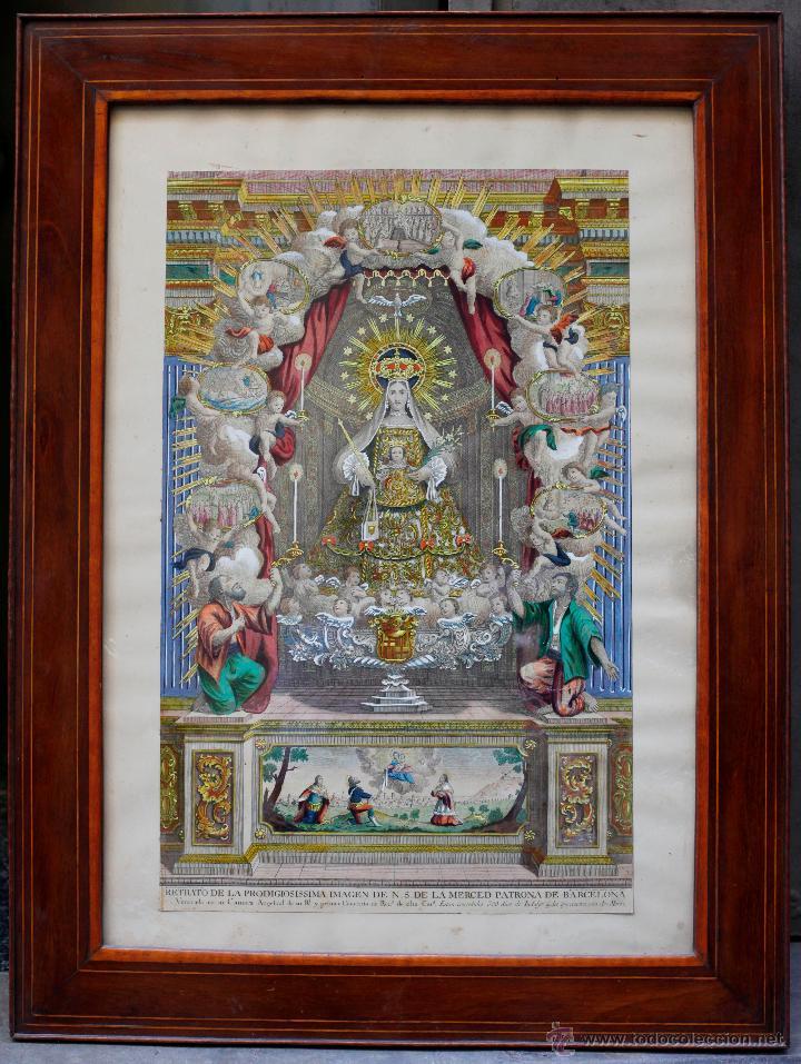 AGUSTÍ SALLENT GRABADOR, AÑO 1757. VIRGEN DE LA MERCED, BARCELONA, GRABADO ILUMINADO 32X51CM. (Arte - Arte Religioso - Grabados)