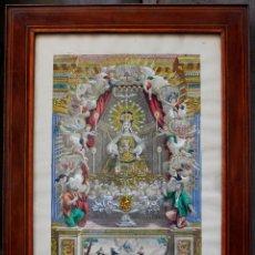 Arte: AGUSTÍ SALLENT GRABADOR, AÑO 1757. VIRGEN DE LA MERCED, BARCELONA, GRABADO ILUMINADO 32X51CM.. Lote 51702765