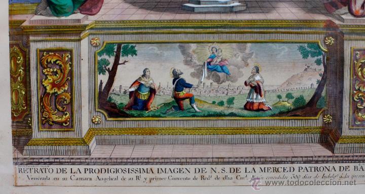 Arte: AGUSTÍ SALLENT GRABADOR, AÑO 1757. VIRGEN DE LA MERCED, Barcelona, GRABADO ILUMINADO 32X51CM. - Foto 2 - 51702765