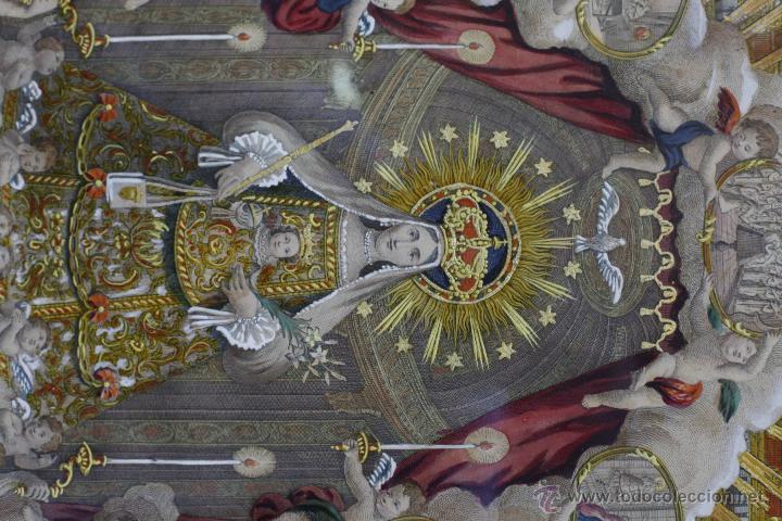 Arte: AGUSTÍ SALLENT GRABADOR, AÑO 1757. VIRGEN DE LA MERCED, Barcelona, GRABADO ILUMINADO 32X51CM. - Foto 3 - 51702765