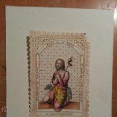 Arte: ANTIGUO GRABADO COLOREADO SAN JUAN BAUTISTA , CON PUNTILLA ORIGINAL ESPECTACULAR. Lote 51792187