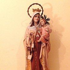Arte: ANTIGUA FIGURA RELIGIOSA VIRGEN DEL CARMEN CON NIÑO JESÚS MEDIDAS 55CM X 15CM. Lote 51795679