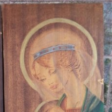 Arte: VIRGEN CON NIÑO EN EL REGAZO PINTADA SOBRE TABLA MIDE 50/30. Lote 51819751