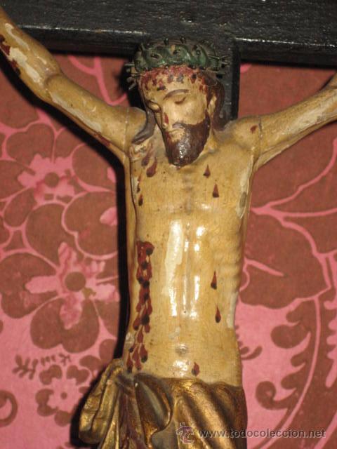 Arte: ESPECTACULAR TALLA - CRISTO CRUCIFICADO EN MADERA - SIGLO XVIII - - Foto 6 - 51884840